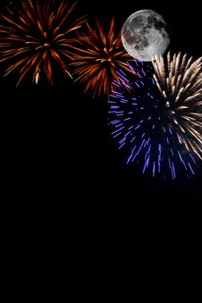 Free Fireworks With Full Moon Royalty Free Stock Image - 15780506