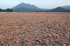 Mekong River Stone Stock Photo