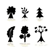 Free Set Of Abstract Trees Royalty Free Stock Images - 15780949