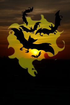 Free Black Bat Silhouettes Halloween Background Stock Photography - 15781302