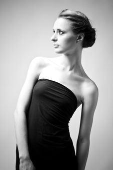 Free Elegant Woman In A Black Dress Stock Image - 15782151