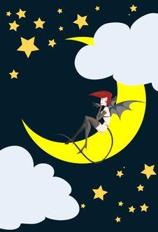 The Girl Devil On Halloween Night. Stock Image