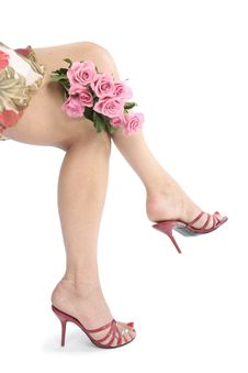 Free Beautiful Woman Legs And Heel Flowers Over White Royalty Free Stock Images - 15782289