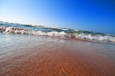 Free Seashore With Waves And Foam Royalty Free Stock Image - 15784256