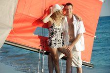 Free Couple On Sea Catamaran Background Royalty Free Stock Photo - 15784465