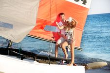 Free Couple On Sea Catamaran Stock Photo - 15784480