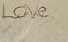 Free Love Written In The Sand Royalty Free Stock Photo - 15785045