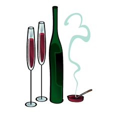 Wine And Cigarette Stock Images