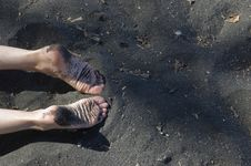 Image Of A Beach With Woman Feet Stock Image
