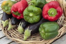 Free Ripe Peppers And Aubergine Vegetables On  Basket Stock Photo - 15788020