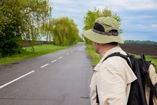 Free Tourist On A Country Road Royalty Free Stock Photography - 15788097