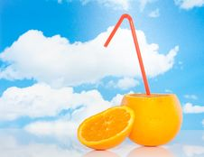 Free An Orange With A Straw Royalty Free Stock Photo - 15788745