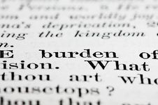 Burden Text Stock Photo