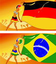 Free German And Brazilian Girl Football Fans Royalty Free Stock Images - 15793049