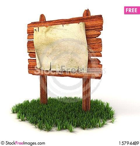 Old blank manuscript on the wooden billboard Stock Photo
