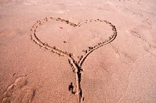 Free Heart Written In The Sand Royalty Free Stock Image - 15790826