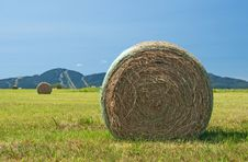 Free Bales Of Hay In The Green Field Stock Image - 15792041