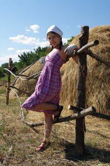 Free Female Near Haystacks Stock Image - 15793061