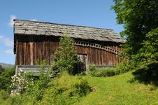 Farm Hut In Field Above Hardangerfjord, Norway Stock Photography