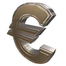 Free Golden EURO Isolated On A White Stock Photography - 15796062
