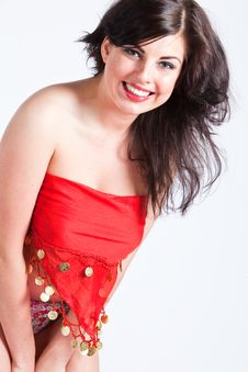 Free Young Woman In Red Oriental Shawl Smiling Royalty Free Stock Photography - 15796187