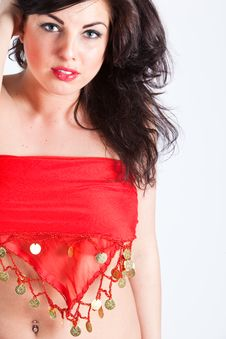 Free Beautiful Young Woman In Red Oriental Shawl Stock Photography - 15796252