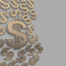 Free 3d Dollars On A Grey Stock Photo - 15796260