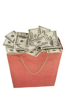 Free Money In A Red Shopping Bag. Stock Image - 15797481