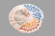 Croatian Kuna Banknotes Isolated On Gray Royalty Free Stock Photo
