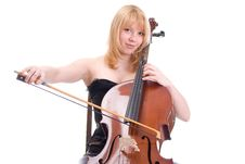 Girl With A Cello Stock Photo