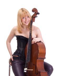 Girl With A Cello Stock Photos