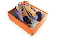 Female Sandals  In A Box Stock Photo