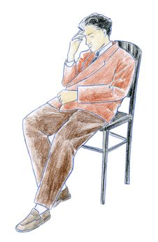 Free Man Sitting - Coloured Sketch Royalty Free Stock Photography - 1580507