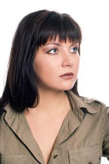 Free Beauty Brunette Soldier Girl Portrait Stock Photo - 1581370