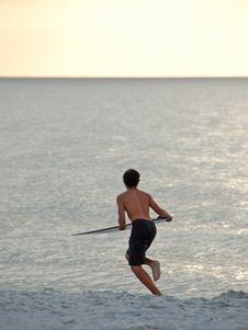 Young Surfer On Beach Stock Images