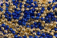 Free Blue And Gold Beads Royalty Free Stock Photos - 1584508