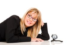 Free A Businesswoman And Webcam Stock Photography - 1584582