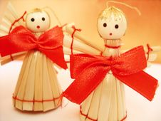 Free Christmas Decoration Angels Made Of Straws Stock Photos - 1585523