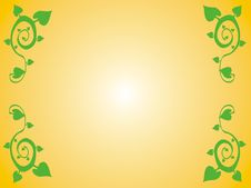 Free Yellow Frame With Green Leafage Royalty Free Stock Photo - 1586285