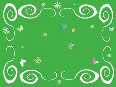 Free Colored Frame With Flakes And Butterflies Royalty Free Stock Image - 1586376