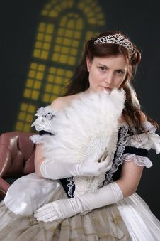 Girl In Historic Robe Stock Images