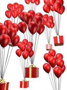 Presents And Balloon Stock Images