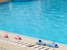 Free Flip-flops At The Pool Royalty Free Stock Photography - 1587727