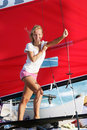 Free Smiling Girl Onboard Sea Yacht Stock Photography - 15801432