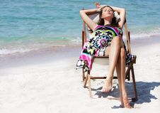 Free Beautiful Woman Relaxing On Beach Stock Photography - 15803902