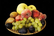 Wicker Plate With Fruits Stock Image