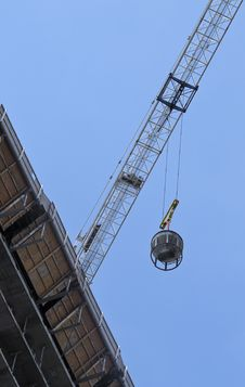 Crane Moving Equipment At Construction Site Royalty Free Stock Photo