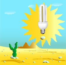 Free Economical Sunny Bulb In Desert Royalty Free Stock Photo - 15806775