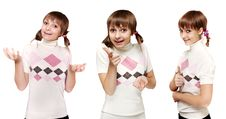 Free Collage Young Beautiful Girl In Light Sweater Royalty Free Stock Photography - 15808037
