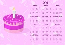American Vector Calendar 2011 With Cake Royalty Free Stock Photo